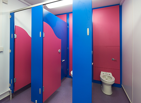 Colourful toilet cubicles for children