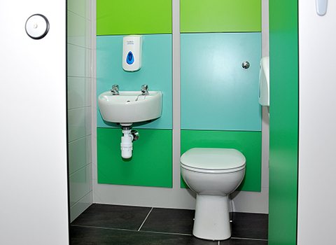 Ambulant disabled toilet cubicle with sink