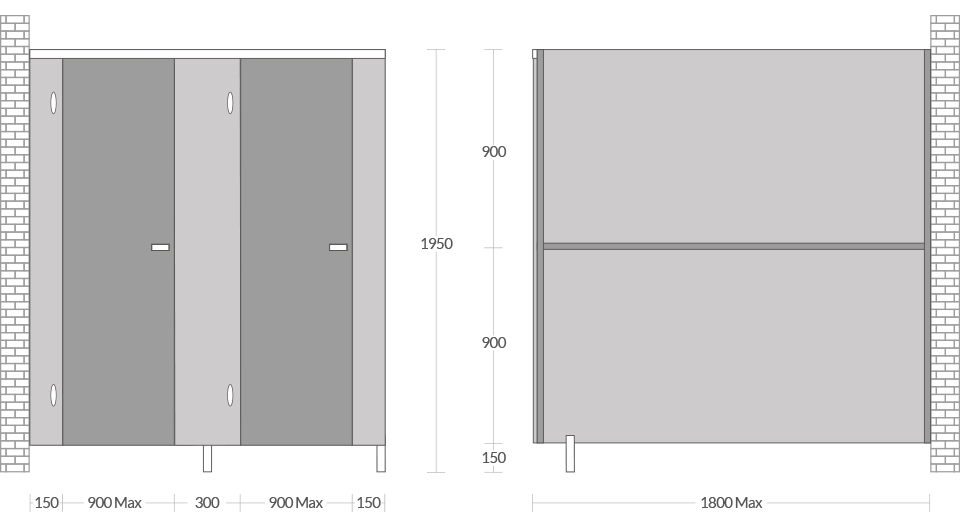 Pendle toilet cubicle dimensions