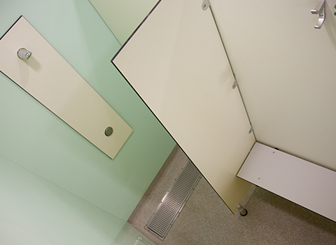 School shower cubicle with bench