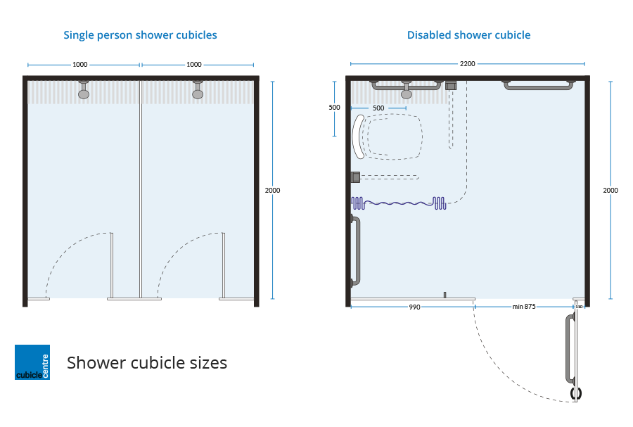 standard shower cubicle dimensions