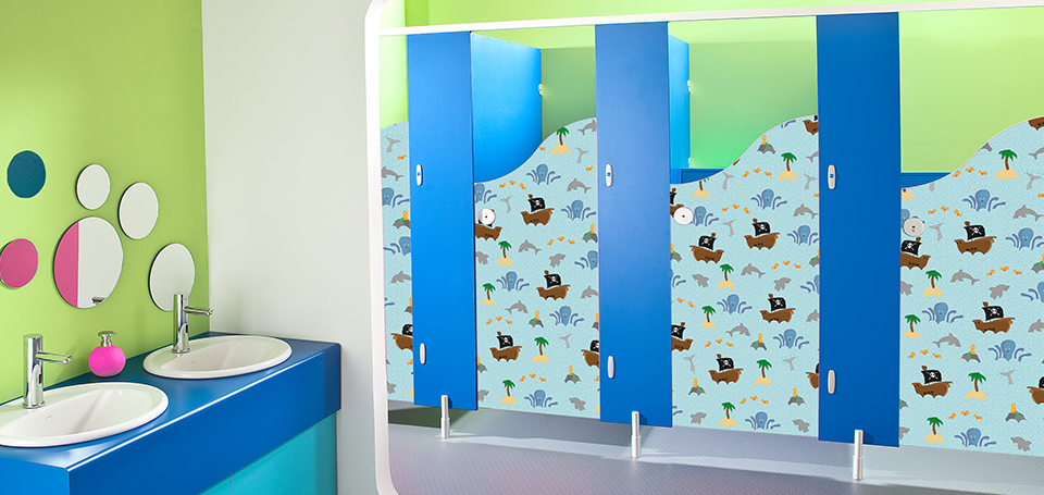 Children's vinyl cubicle door designs