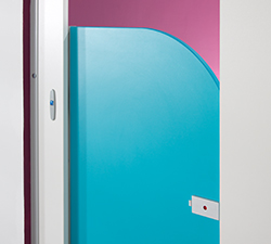Curved toilet cubicle door