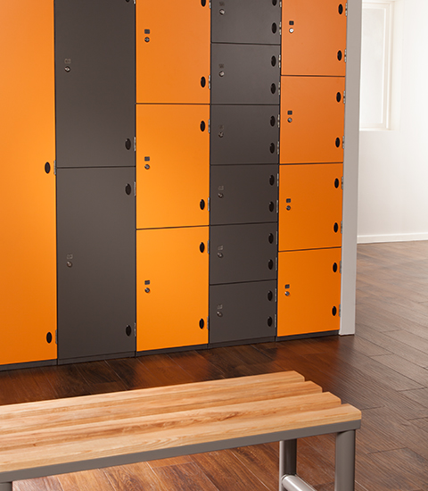 Lockers and bench seating for changing rooms