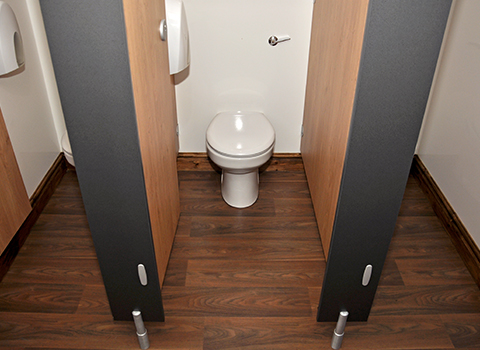 Woodgrain toilet cubicles