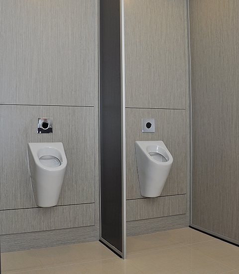 Urinal and toilet wall panels