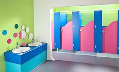 School washroom cubicles