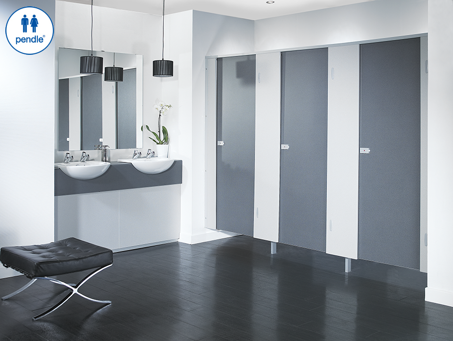 Pendle Toilet cubicles in a modern commercial bathroom environment