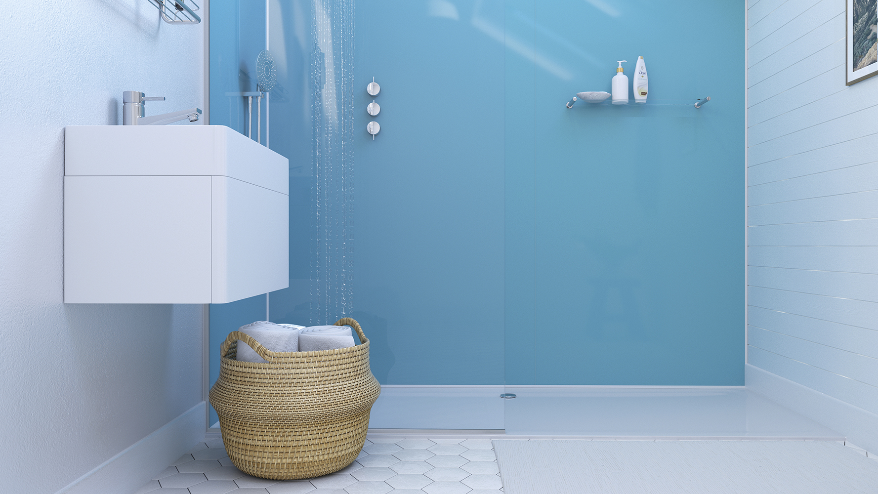 Azure Showerwall panel from the Acrylic Collection