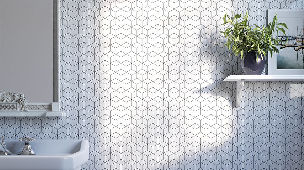 Geo Cube Showerwall panel from the Customs Collection