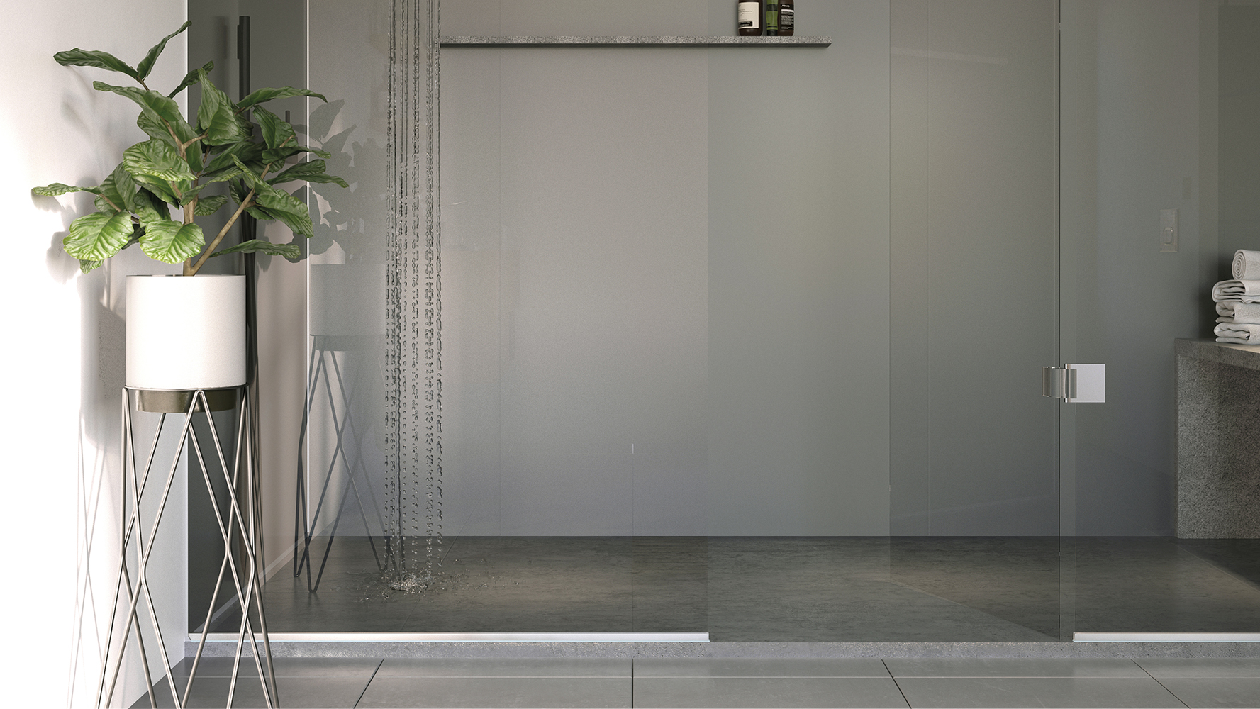 Gun Metal Showerwall panel from the Acrylic Collection