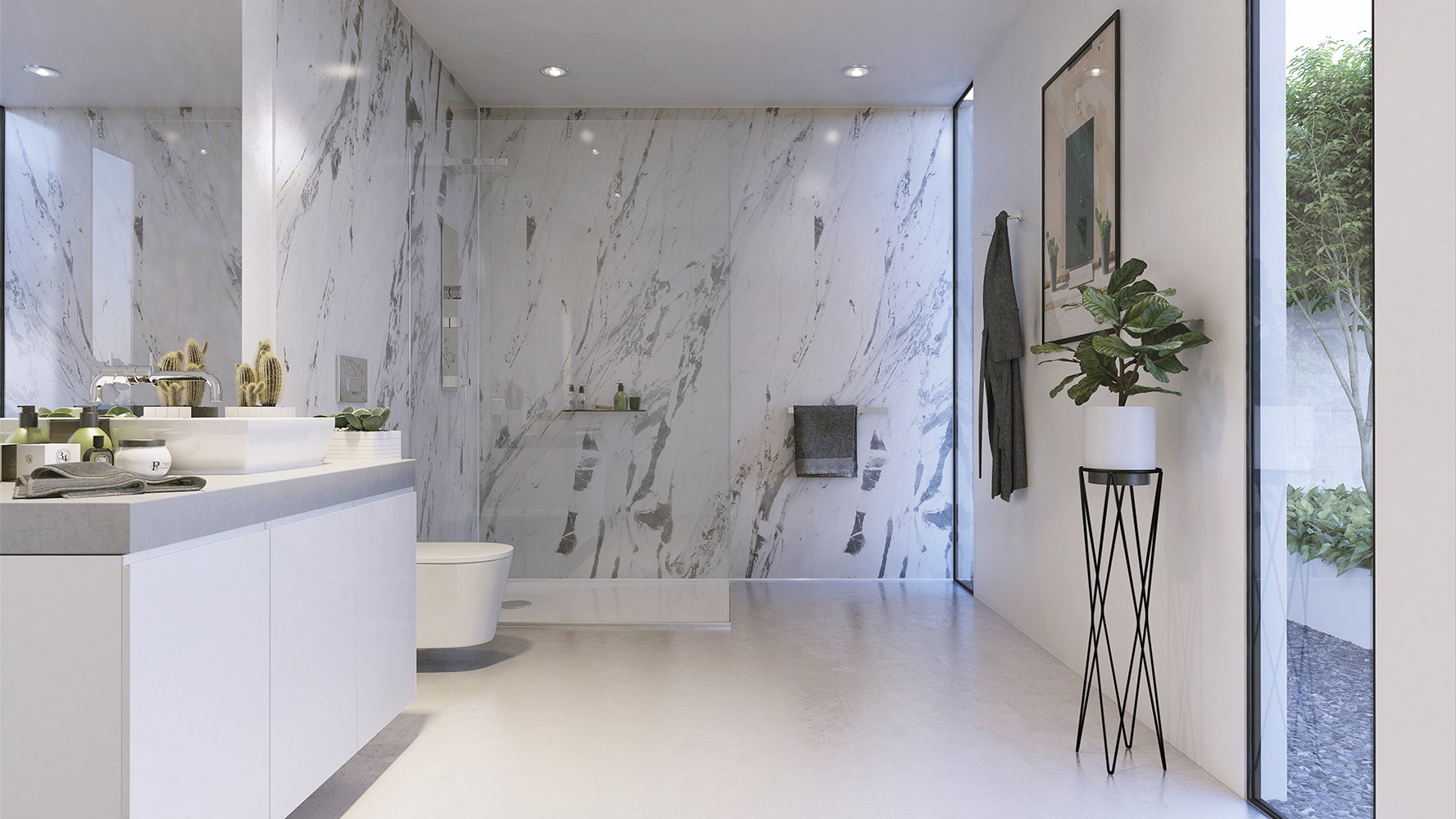 Lightening Marble Showerwall panel from the Marble Collection