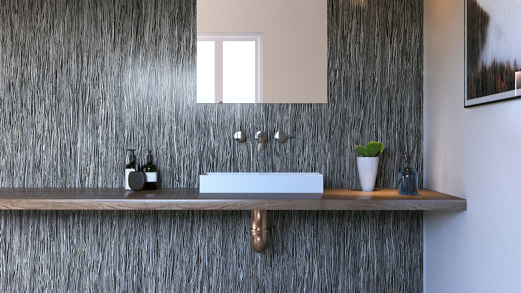 Lineal Smoke Showerwall panel from the Quarry Collection