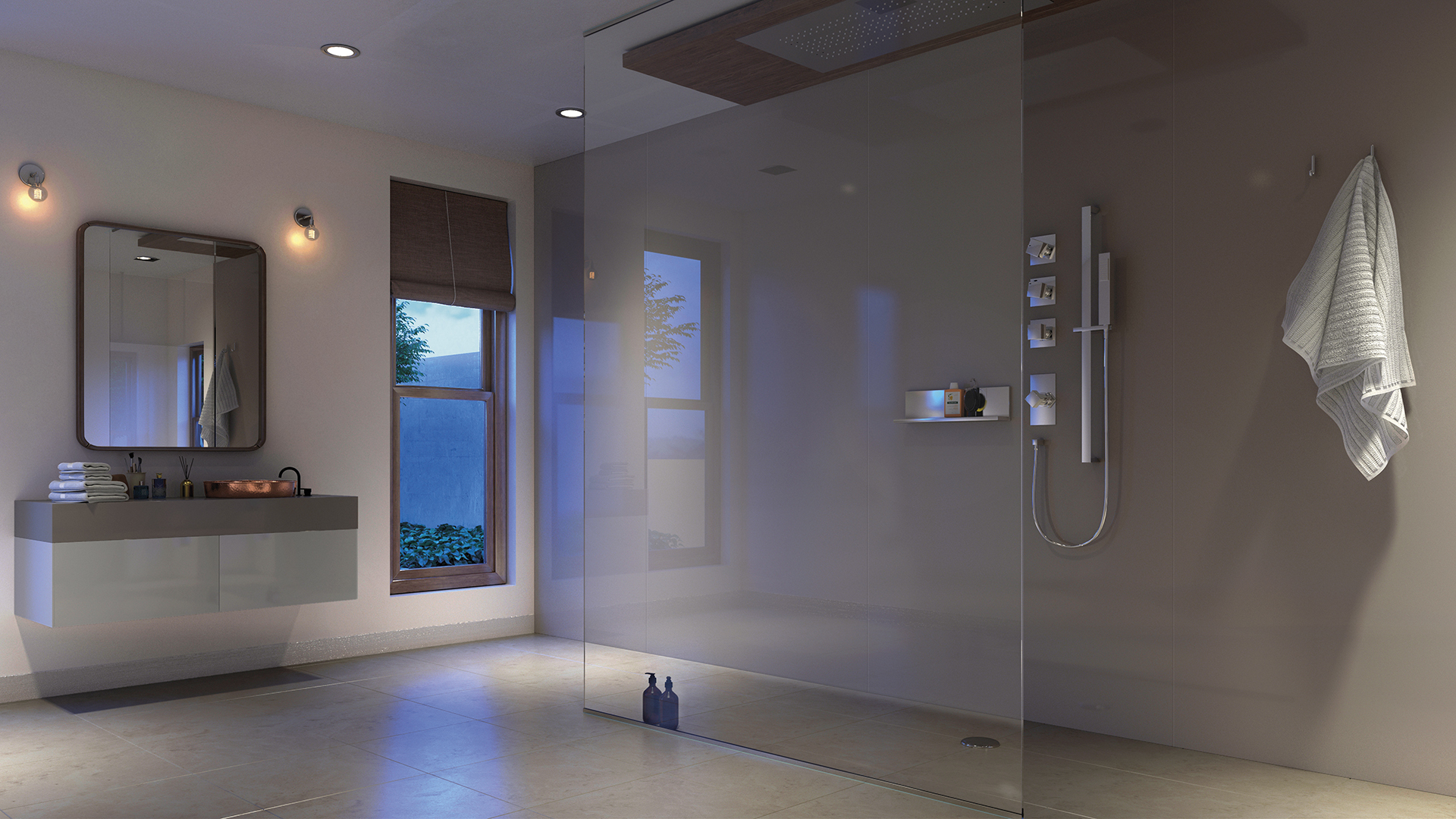 Showerwall panel in a clean modern bathroom in acrylic mocha finish