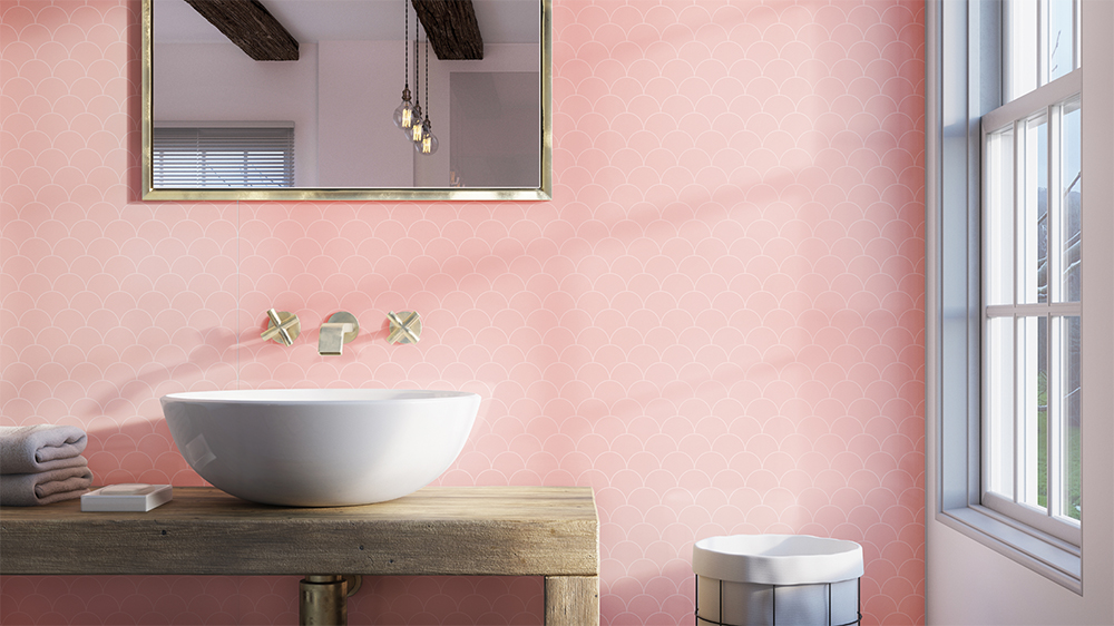 Scallop Blush Showerwall panel from the Customs Collection
