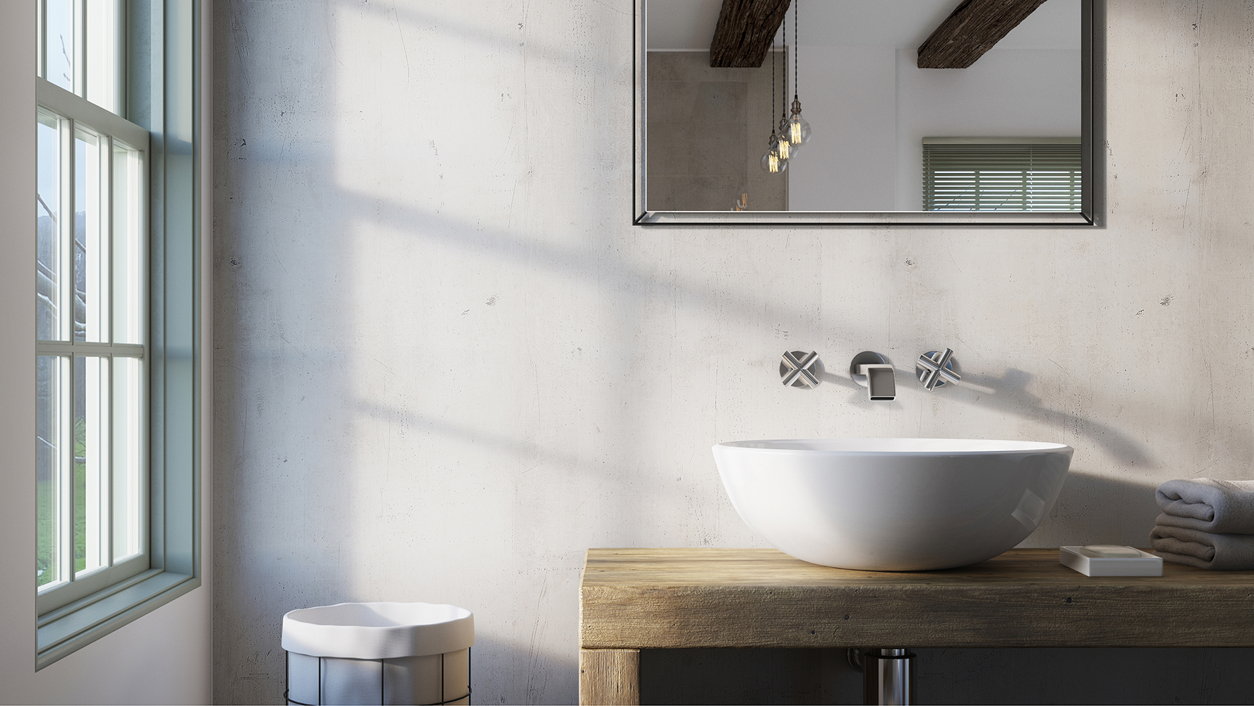 Urban Concrete Showerwall panel from the Quarry Collection