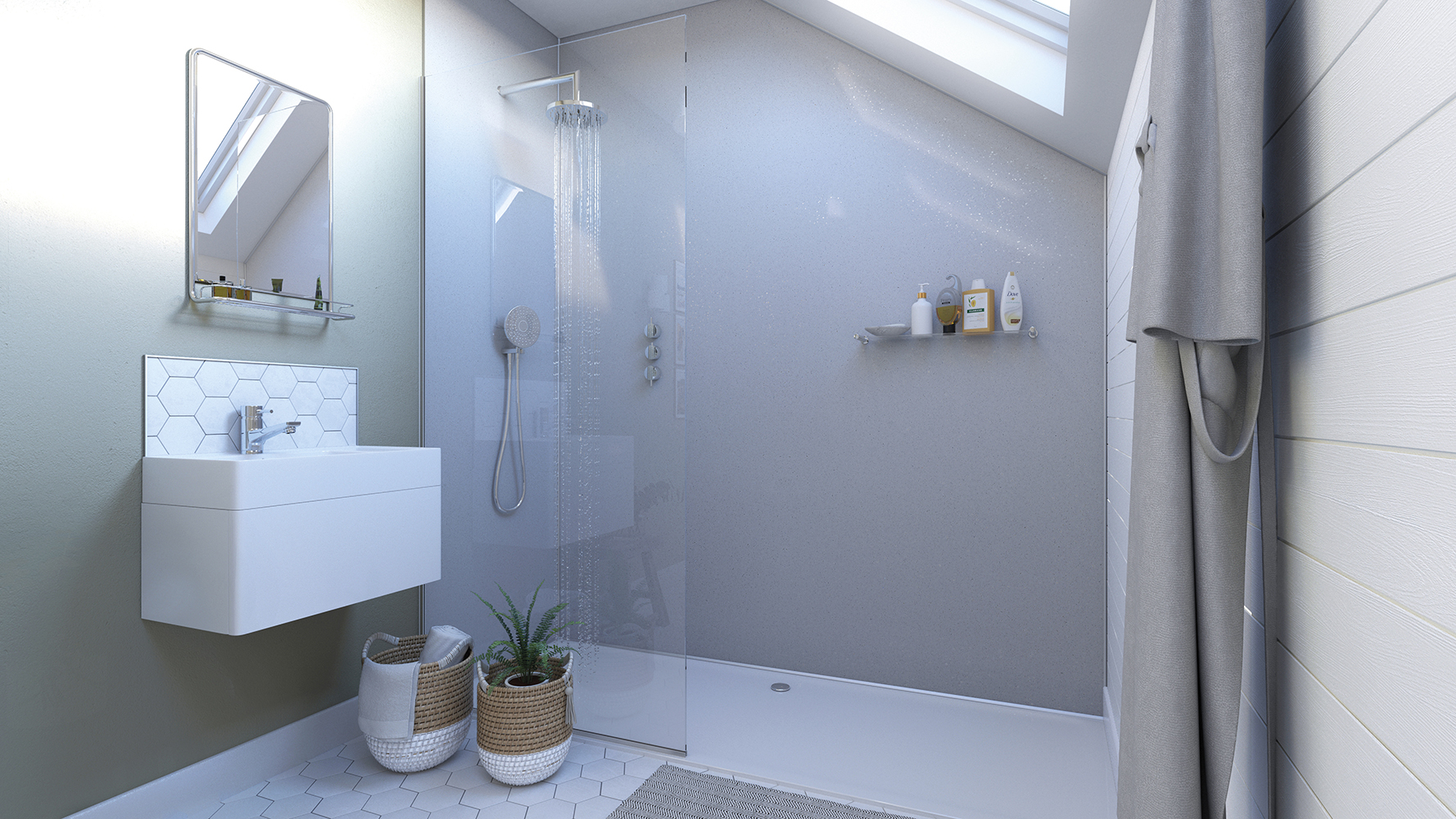 White Sparkle Showerwall panel from the Mineral Collection
