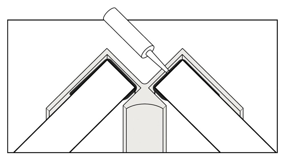 Water proof corner trim illustration