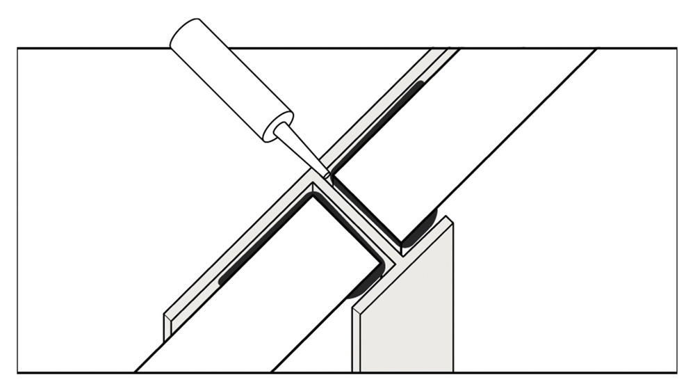Water proof butt join trim illustration