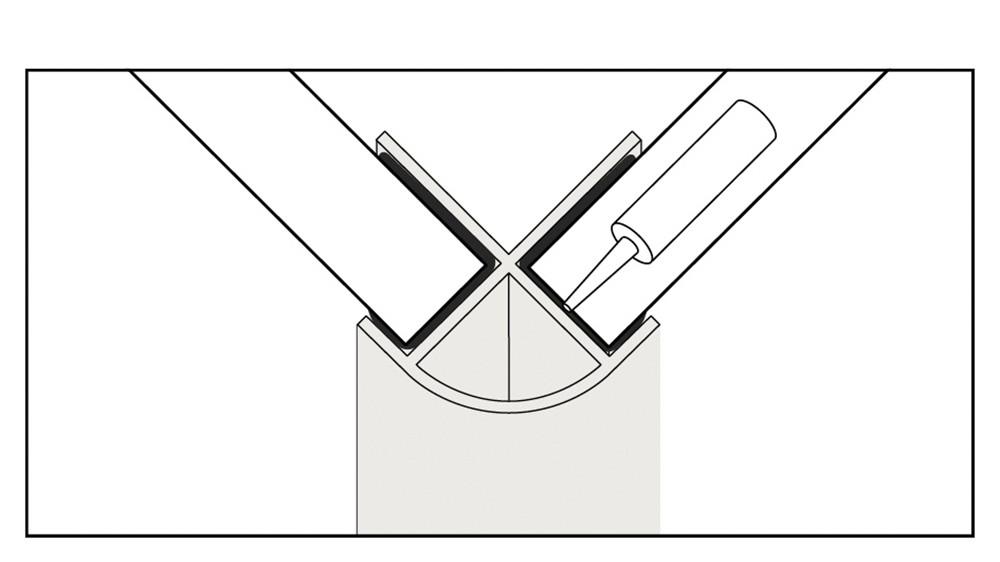 Water proof external trim corner join illustration